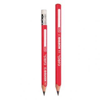 Ceruzka KORES Coach JUMBO grafitová, trojhranná s gumou