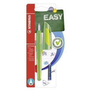 Ergonomické univerzálne plniace pero EASYbuddy lime/green M - pre ľavákov a pravákov, kvalitný hrot s irídiovou špičkou, opätovne naplniteľný štandardnými bombičkami, okienko pre kontrolu hladiny atramentu.